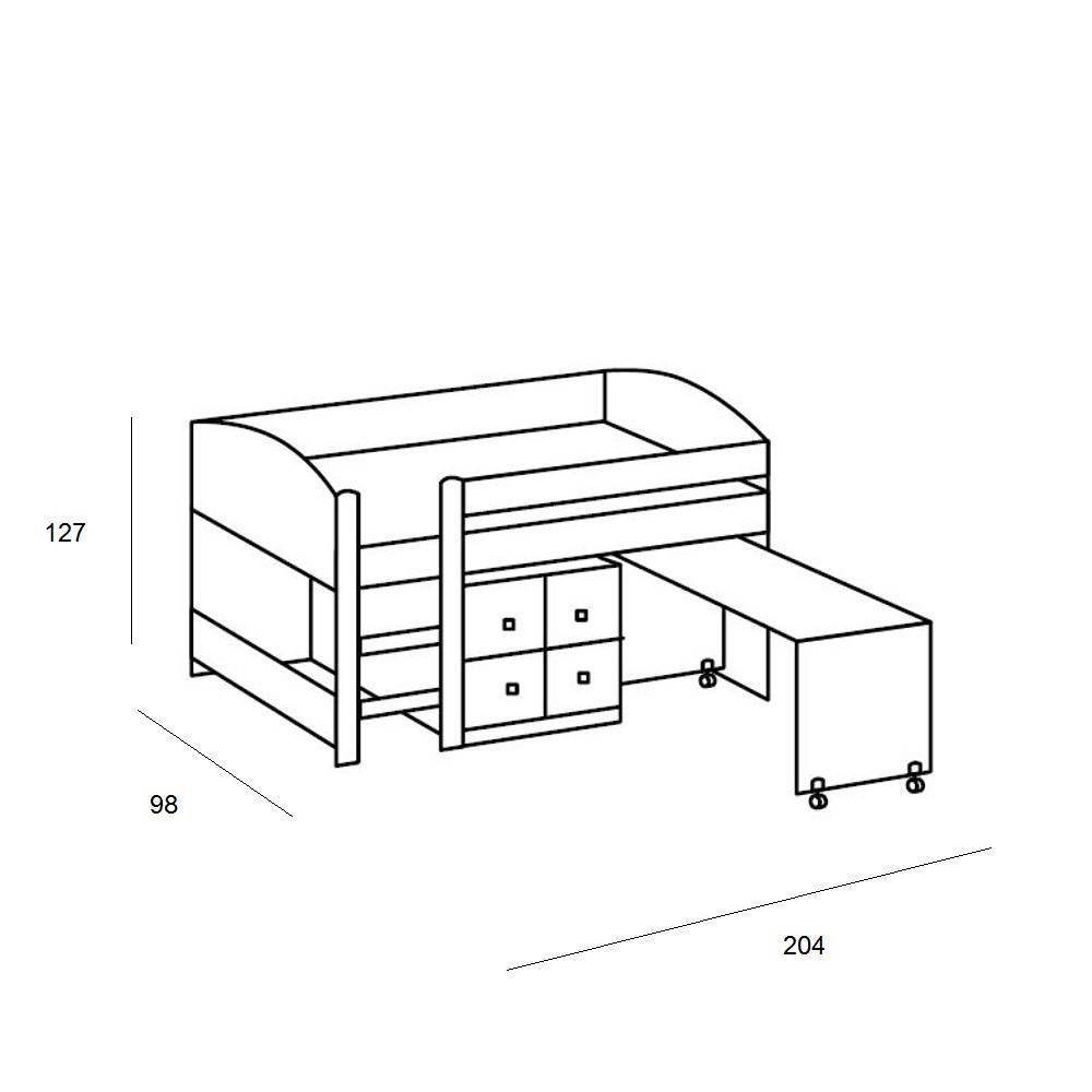 lits enfant chambre literie lit mi haut compact dory ch ne blanc inside75. Black Bedroom Furniture Sets. Home Design Ideas