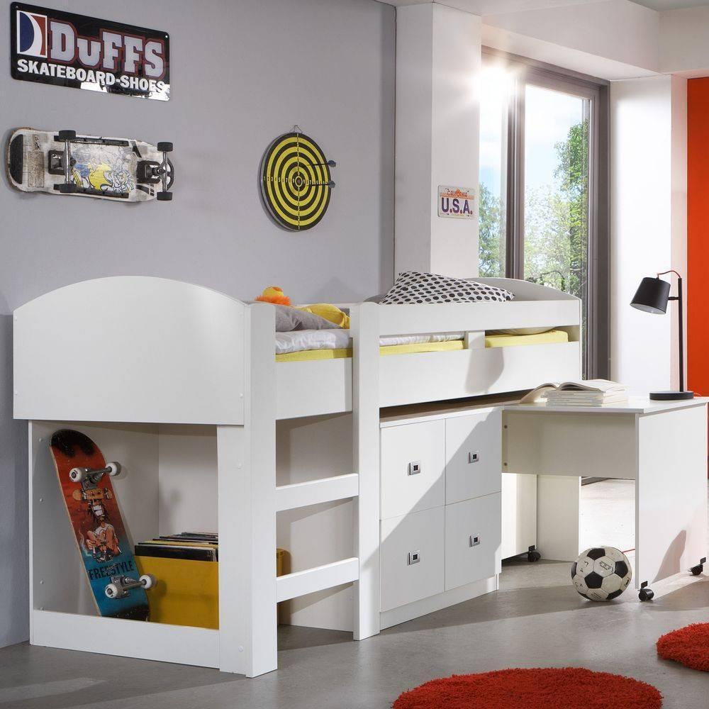 lits enfant chambre literie lit mi haut compact dory blanc inside75. Black Bedroom Furniture Sets. Home Design Ideas