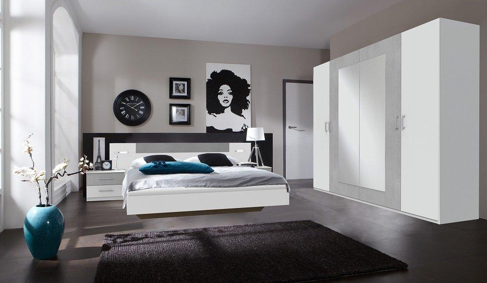 Lit design ANGELA avec éclairage 160 x 200 cm blanc rechampis béton gris clair