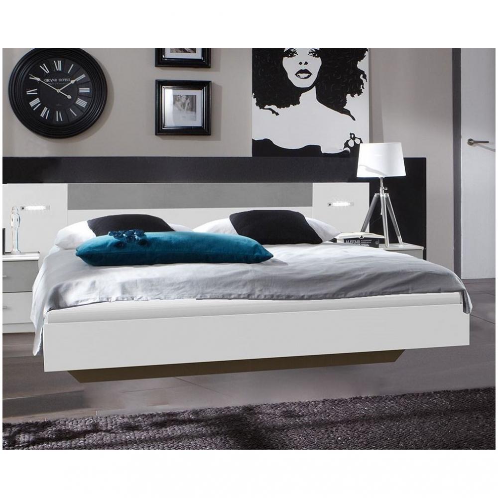 Lit design ANGELA avec éclairage 180 x 200 cm blanc rechampis béton gris clair