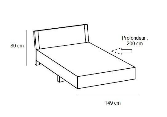 Lit design EVA  140 x 190 cm blanc rechampis chêne châtaigne