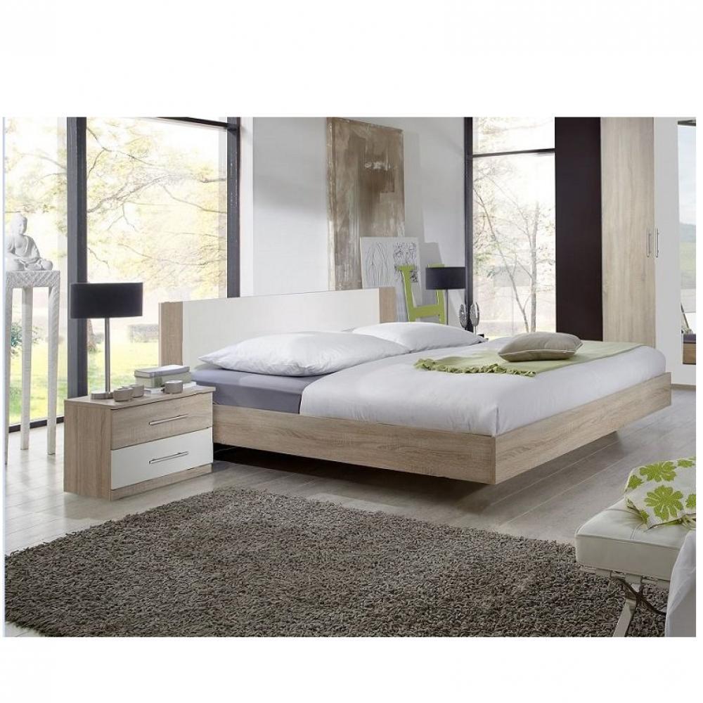 Lit design EVA  couchage 140 x 190 cm chêne clair rechampis blanc