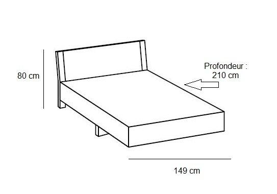 Lit design EVA  140 x 200 cm blanc rechampis chêne châtaigne