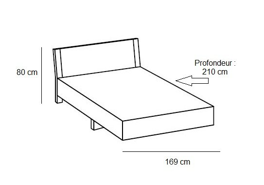 Lit design EVA  couchage 160 x 200 cm blanc rechampis chêne châtaigne