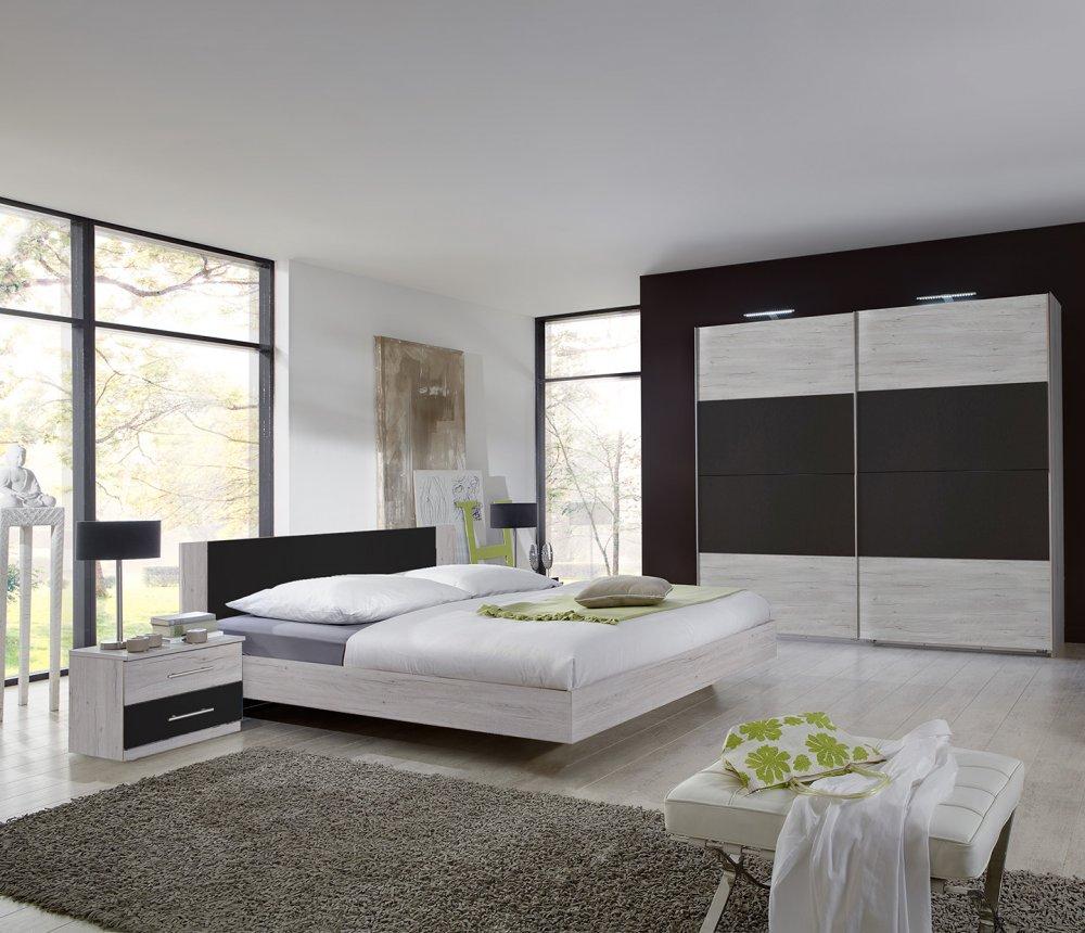 Lit design EVA  couchage 160 x 200 cm chêne blanchi rechampis graphite