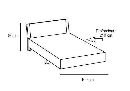 Lit design EVA  couchage 160 x 200 cm graphite rechampis chêne châtaigne