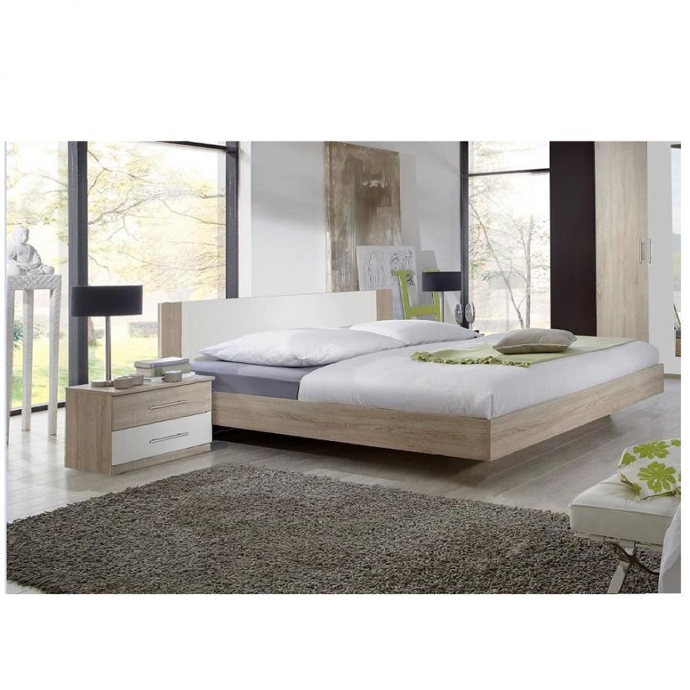 Lit design EVA  couchage 180 x 200 cm chêne clair rechampis blanc
