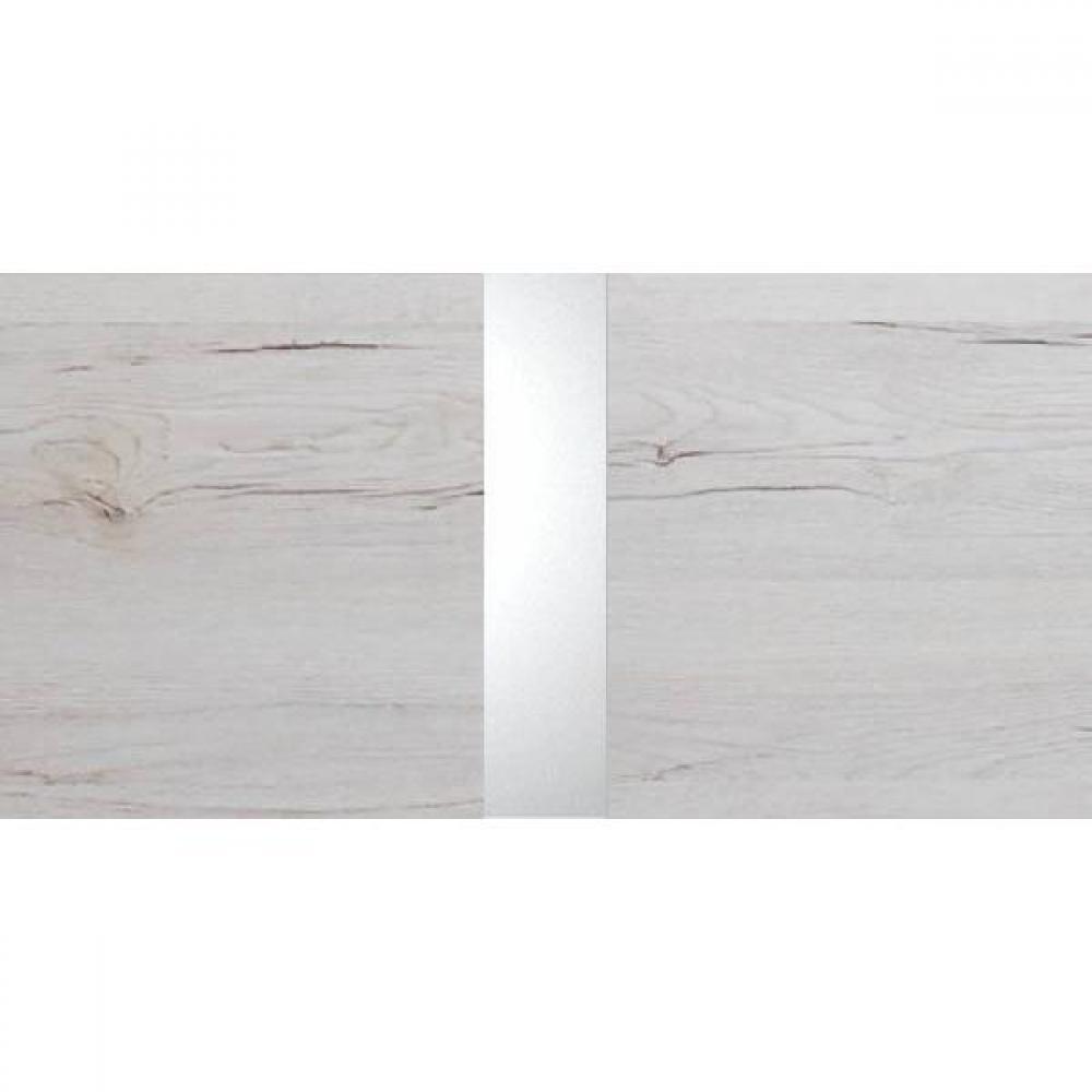 Lit design IDAHO 140 x 190 cm chêne blanc rechampis chrome brillant