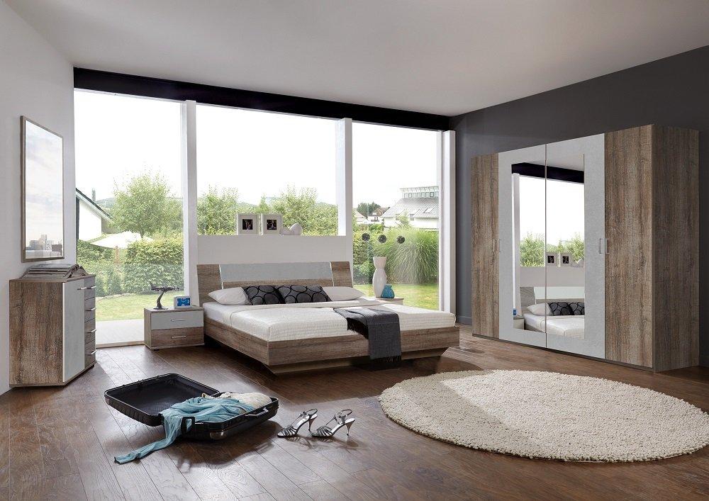 Lit design JANA 140 x 190 cm chêne châtaigne rechampis gris béton