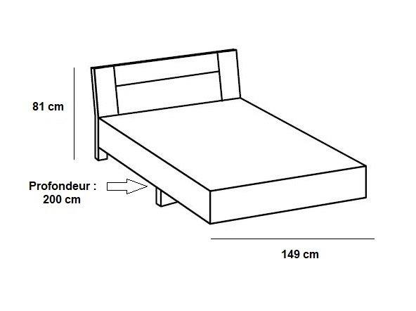 Lit design JANA 140 x 190 cm chêne rechampis graphite