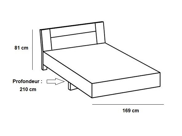 Lit design JANA 160 x 200 cm chêne rechampis graphite