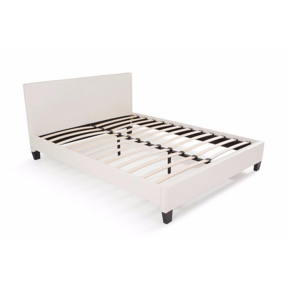 Lit design MINOS similicuir blanc couchage 140*190 cm