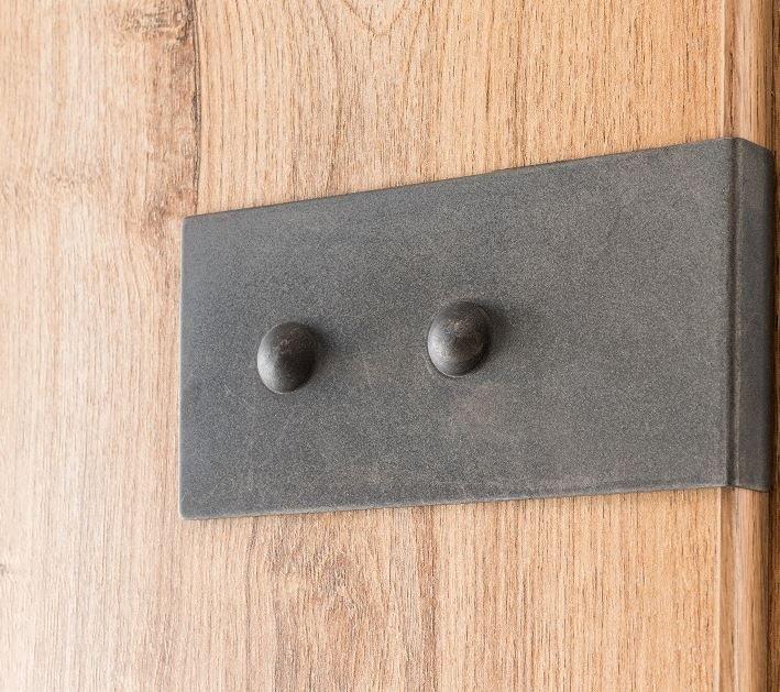 Lit style industriel VERNON 180 x 200 cm chêne poutre et graphite