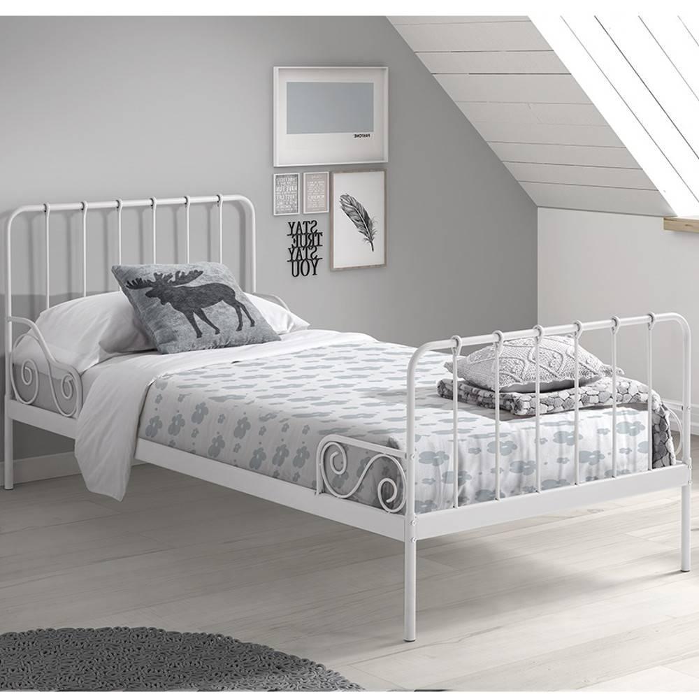 lits chambre literie lit alexia en m tal blanc couchage 90 x 200cm inside75. Black Bedroom Furniture Sets. Home Design Ideas