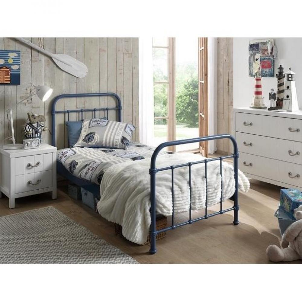 Chambre Bleu Acier : Lits chambre literie lit simple eni acier bleu