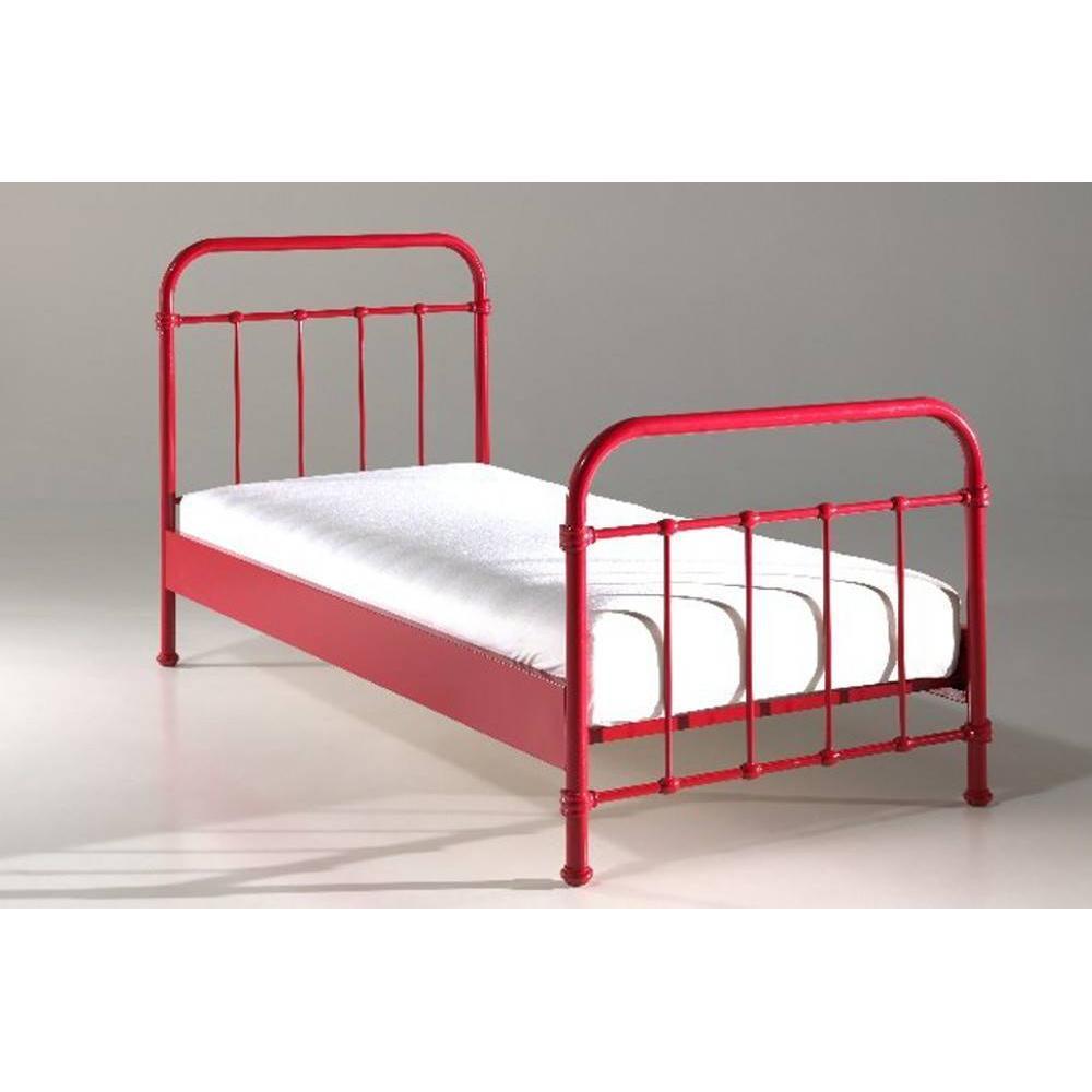 lits chambre literie lit simple eni acier rouge couchage 90 x 200 inside75. Black Bedroom Furniture Sets. Home Design Ideas