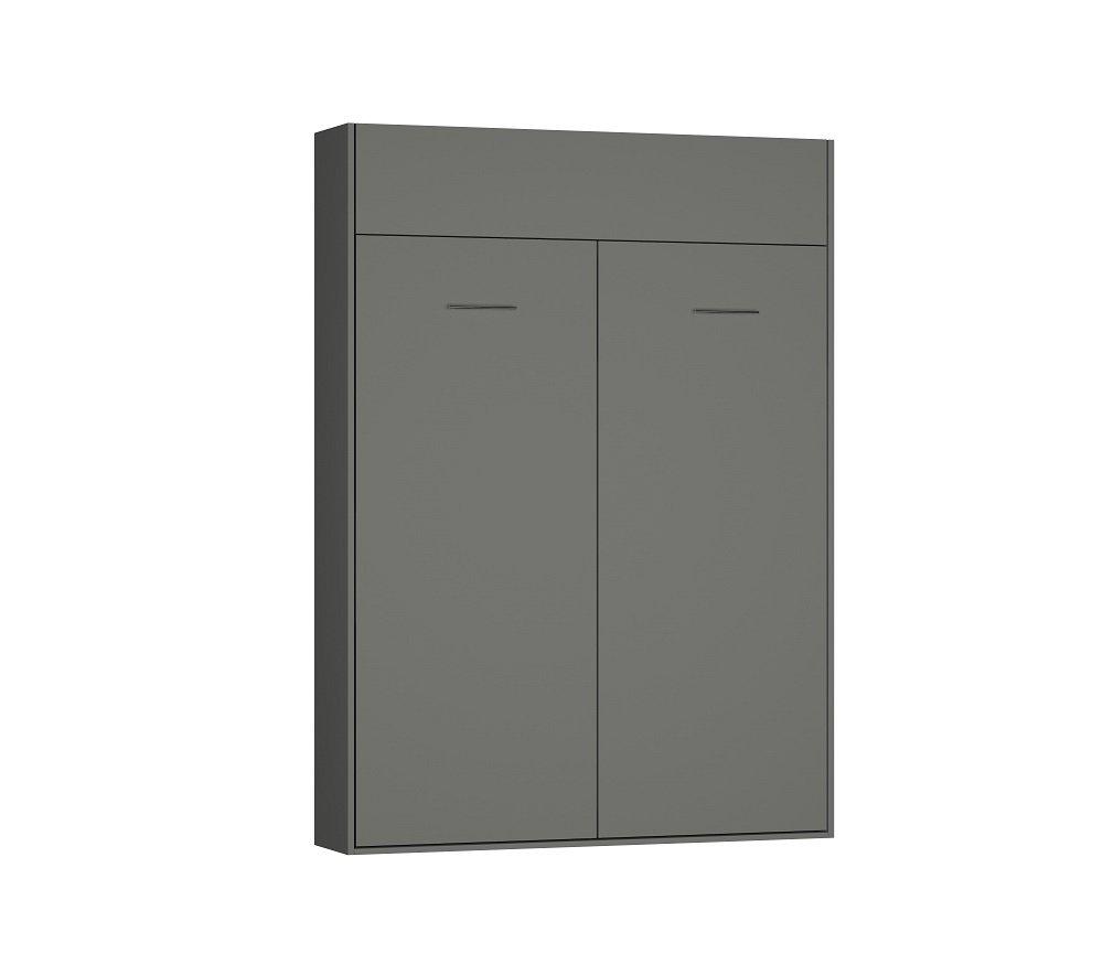 Composition lit escamotable DYNAMO gris mat Couchage 140 x 200 cm colonne bibliothèque