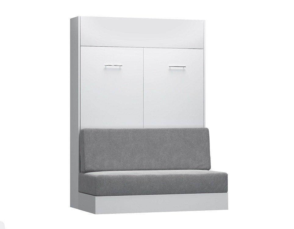Composition lit escamotable blanc mat DYNAMO SOFA canapé  gris Couchage 140 x 200 cm 2 colonnes rangement + angle