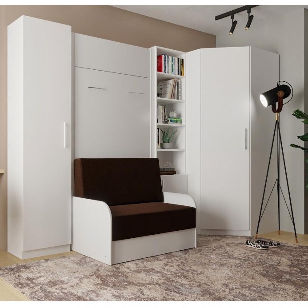 Canapé d'angle 2 places Blanc Tissu Confort