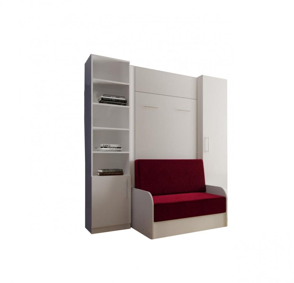 Canapé droit 2 places Rouge Tissu Confort
