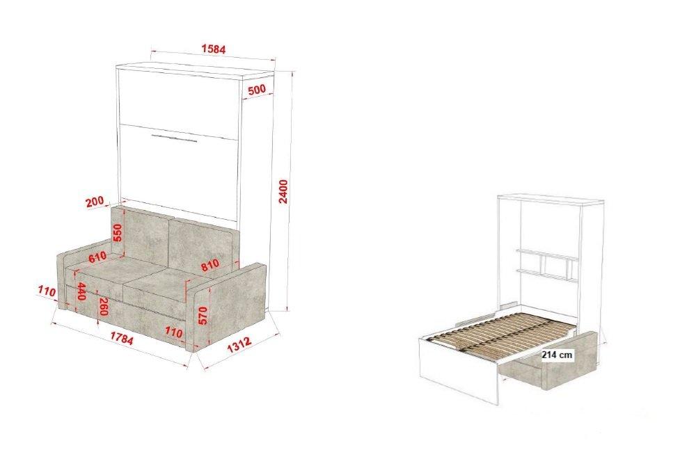 Composition armoire lit escamotable FIDJI SOFA couchage 140*200 Colonnes de rangements intégrées