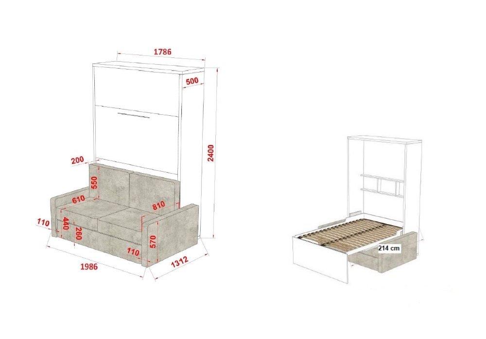 Armoire lit escamotable FIDJI SOFA canapé intégré couchage 160*200 Profondeur 50 cm.