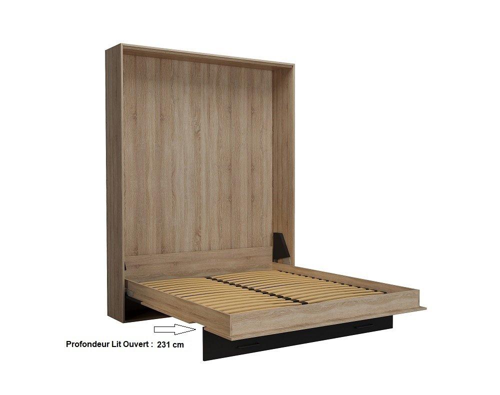 Lit escamotable style industriel TEKNO chêne bandeaux et ferrures noir mat 160 x 200 cm