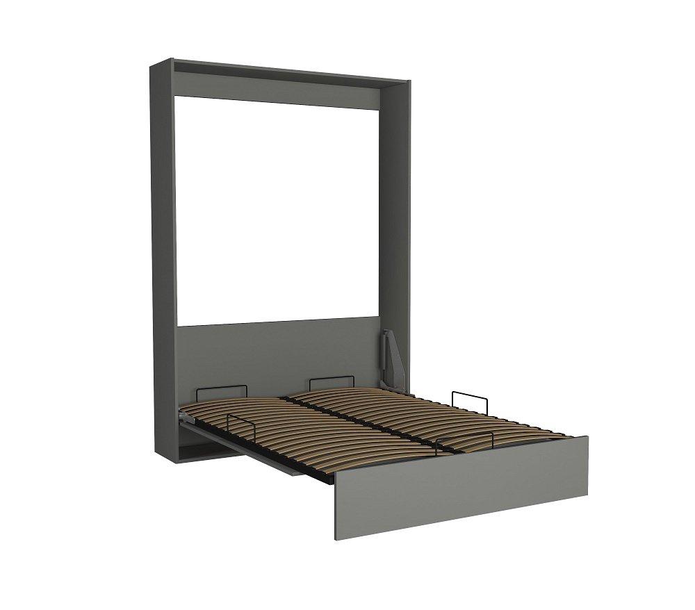 Lit escamotable DYNAMO gris mat ouverture assistée et pied automatique, couchage 160*200 cm