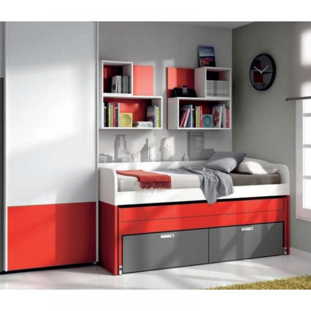 lits gigognes chambre literie lit gigogne compact samy avec 2 tiroirs couchage 90 x 190. Black Bedroom Furniture Sets. Home Design Ideas
