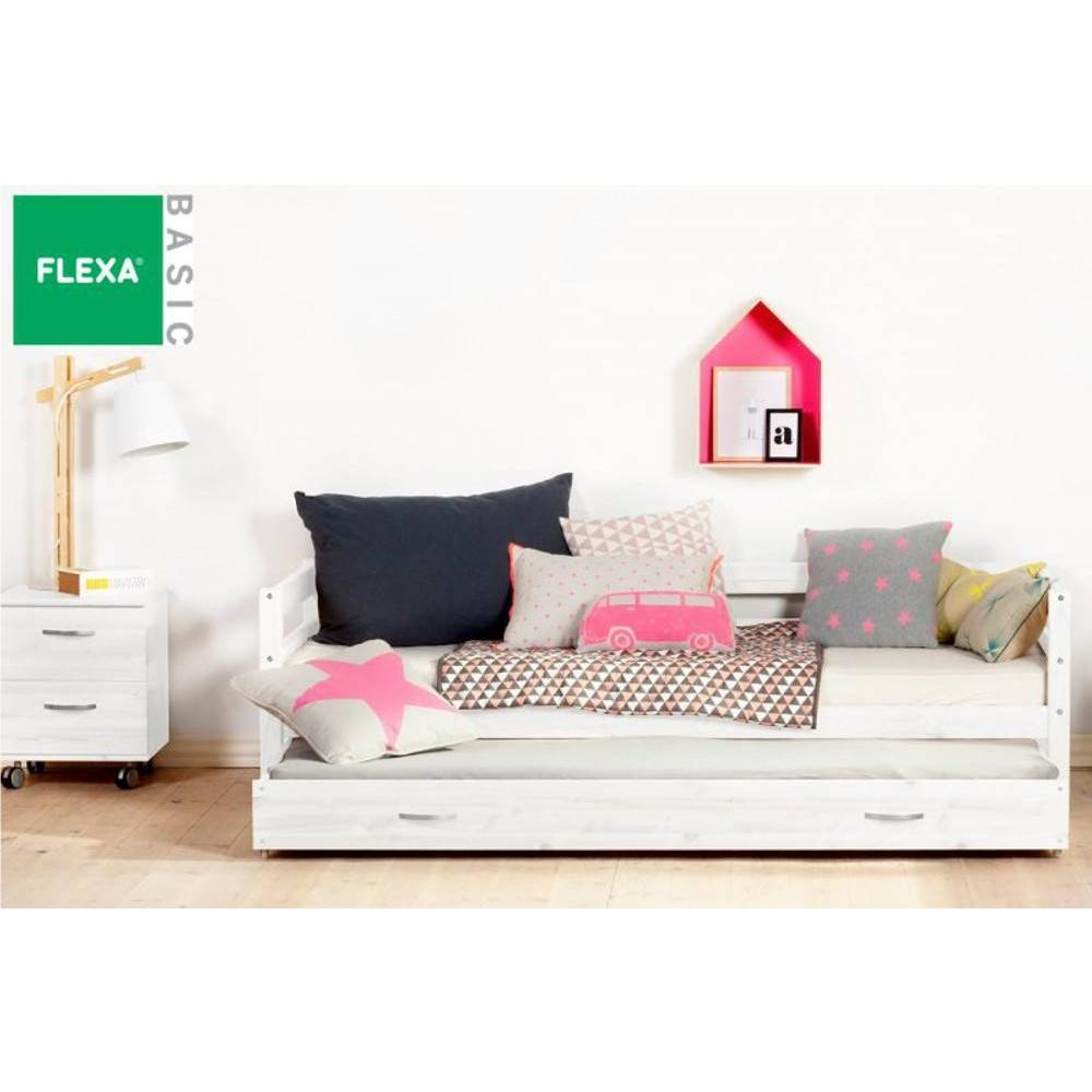 lit gigogne flexa en pin vernis blanchi couchage 90 x 200. Black Bedroom Furniture Sets. Home Design Ideas