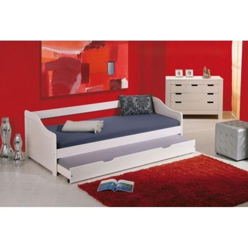lits chambre literie lit gigogne leonie en pin massif blanc couchage 90 x 190 cm inside75. Black Bedroom Furniture Sets. Home Design Ideas