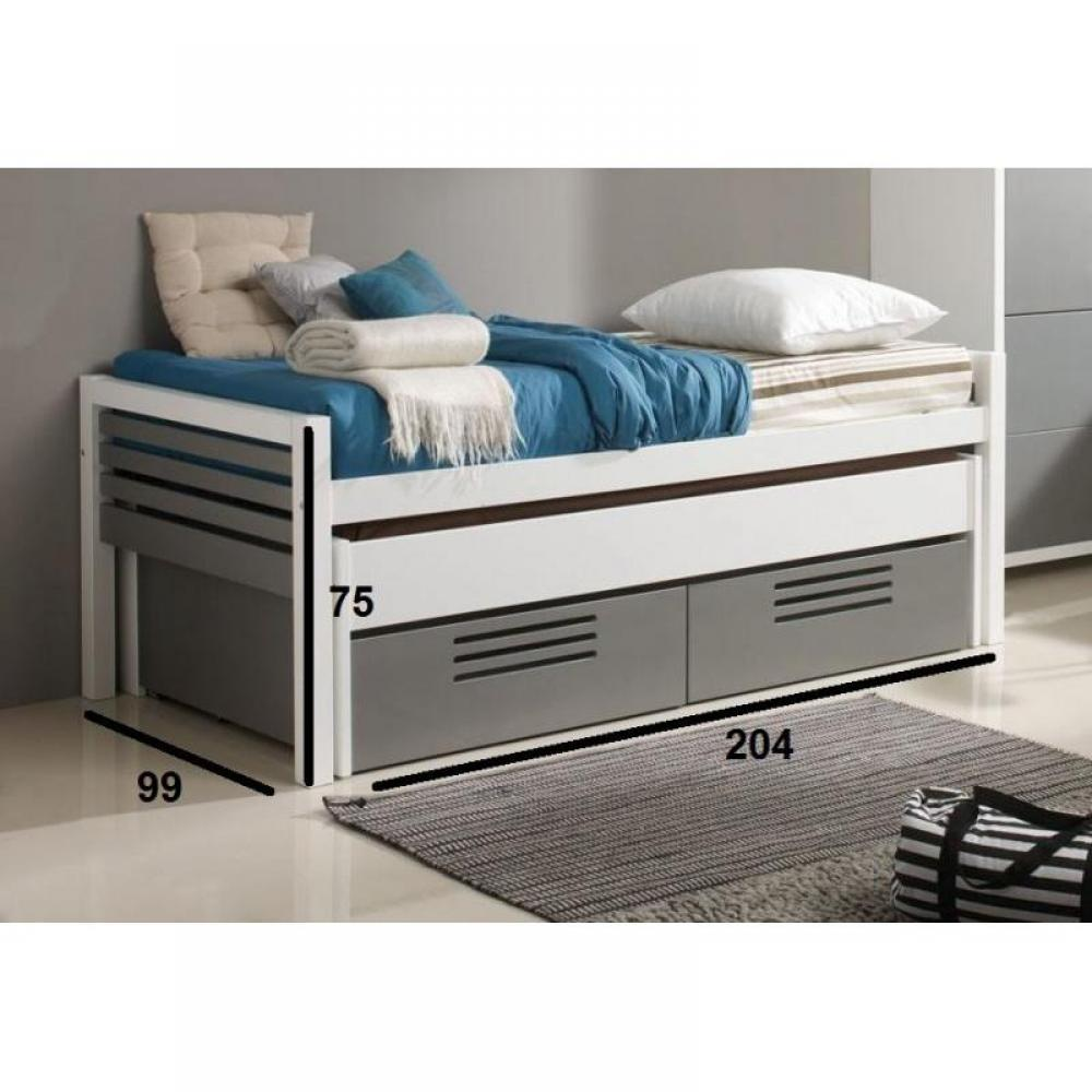 lits gigognes chambre literie lit gigogne double marlone blanc et argent avec 2 tiroirs. Black Bedroom Furniture Sets. Home Design Ideas