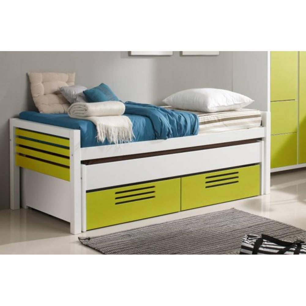 lits gigognes chambre literie lit gigogne double marlone jaune avec 2 tiroirs couchage 190. Black Bedroom Furniture Sets. Home Design Ideas