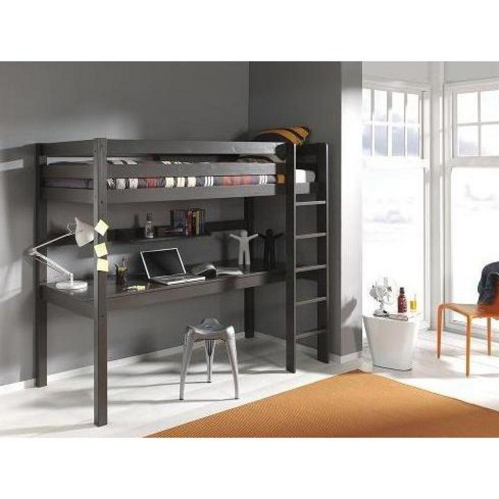 lits mezzanine chambre literie lit bureau mezzanine pluton en pin vernis taupe inside75. Black Bedroom Furniture Sets. Home Design Ideas
