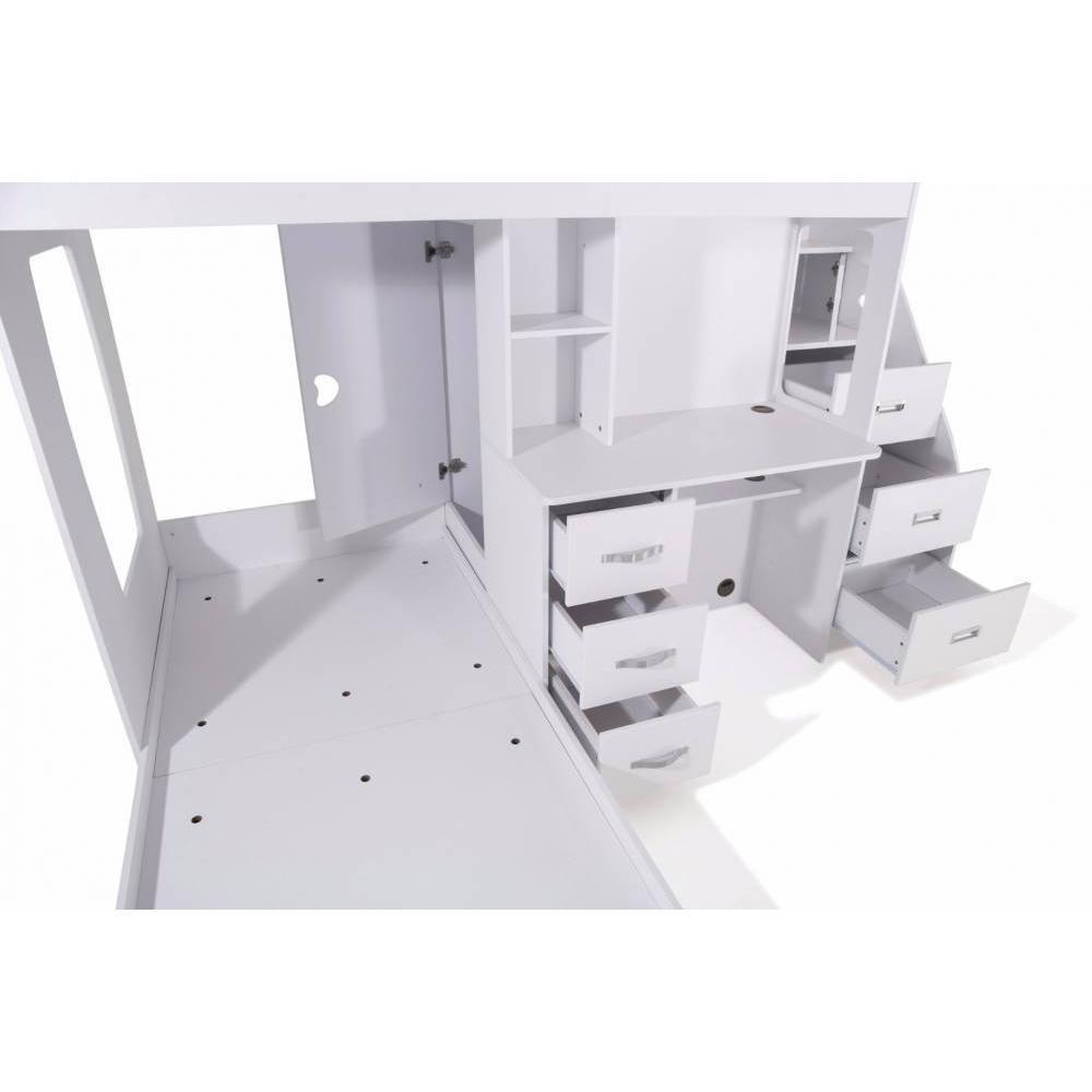 Lits superpos s chambre literie lit mezzanine combi for Lit mezzanine avec bureau integre