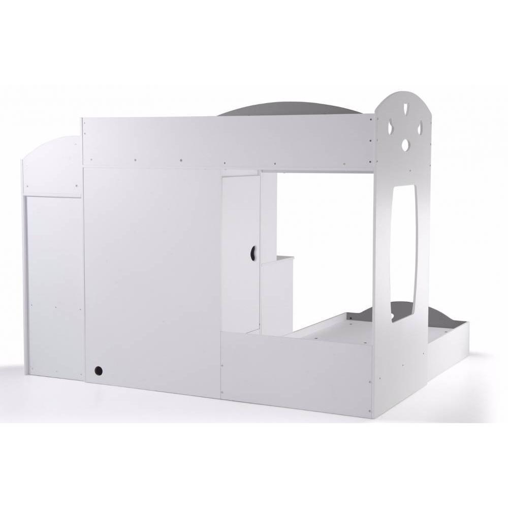 Lits Chambre Literie Lit Mezzanine Combi Blanc Espace Bureau