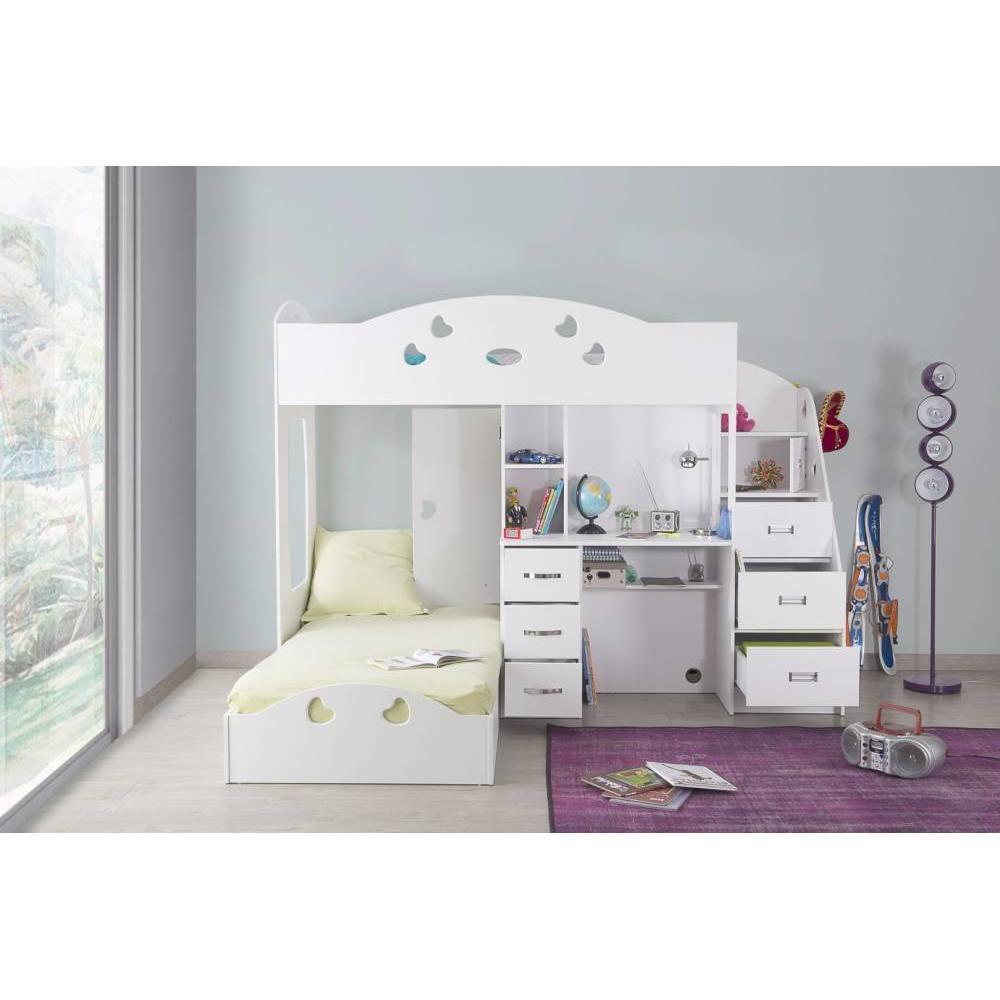 Lits chambre literie lit mezzanine combi blanc espace - Lit mezzanine avec bureau integre ...