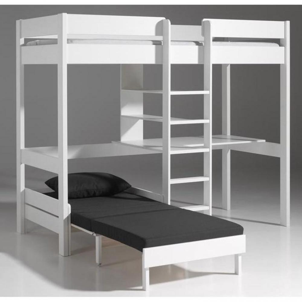 Lits chambre literie lit mezzanine avec fauteuil pino for Lit mezzanine bureau blanc