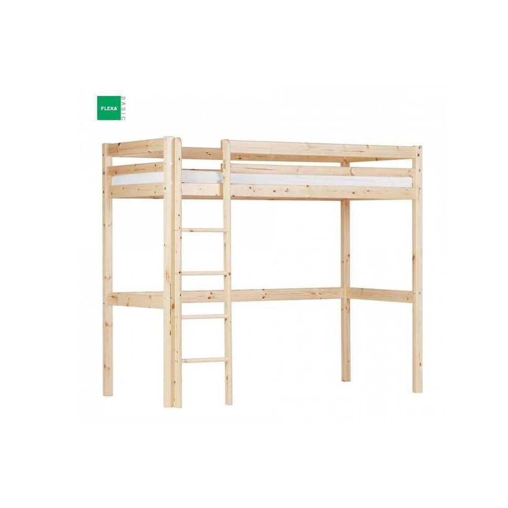 lits chambre literie lit mezzanine flexa en pin vernis naturel couchage 90 x 200 inside75. Black Bedroom Furniture Sets. Home Design Ideas