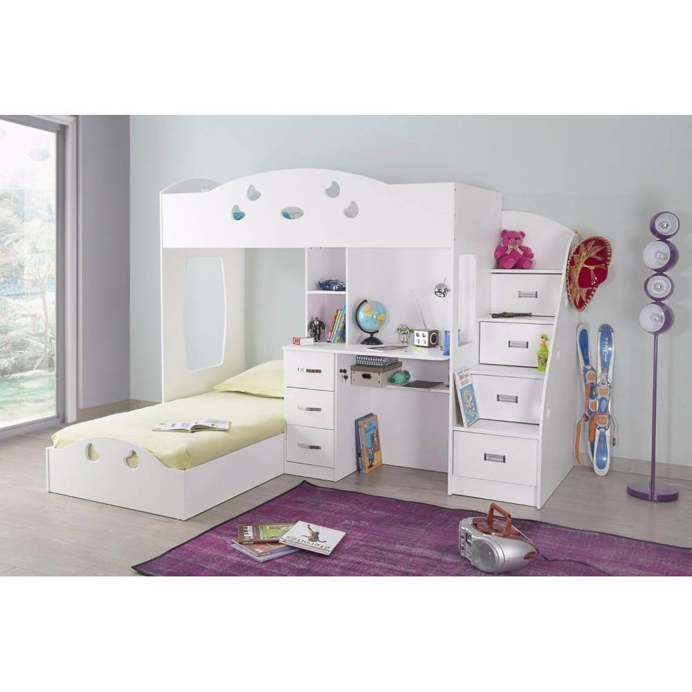 Lits Chambre Literie Lit Mezzanine Maïa Blanc Espace Bureau