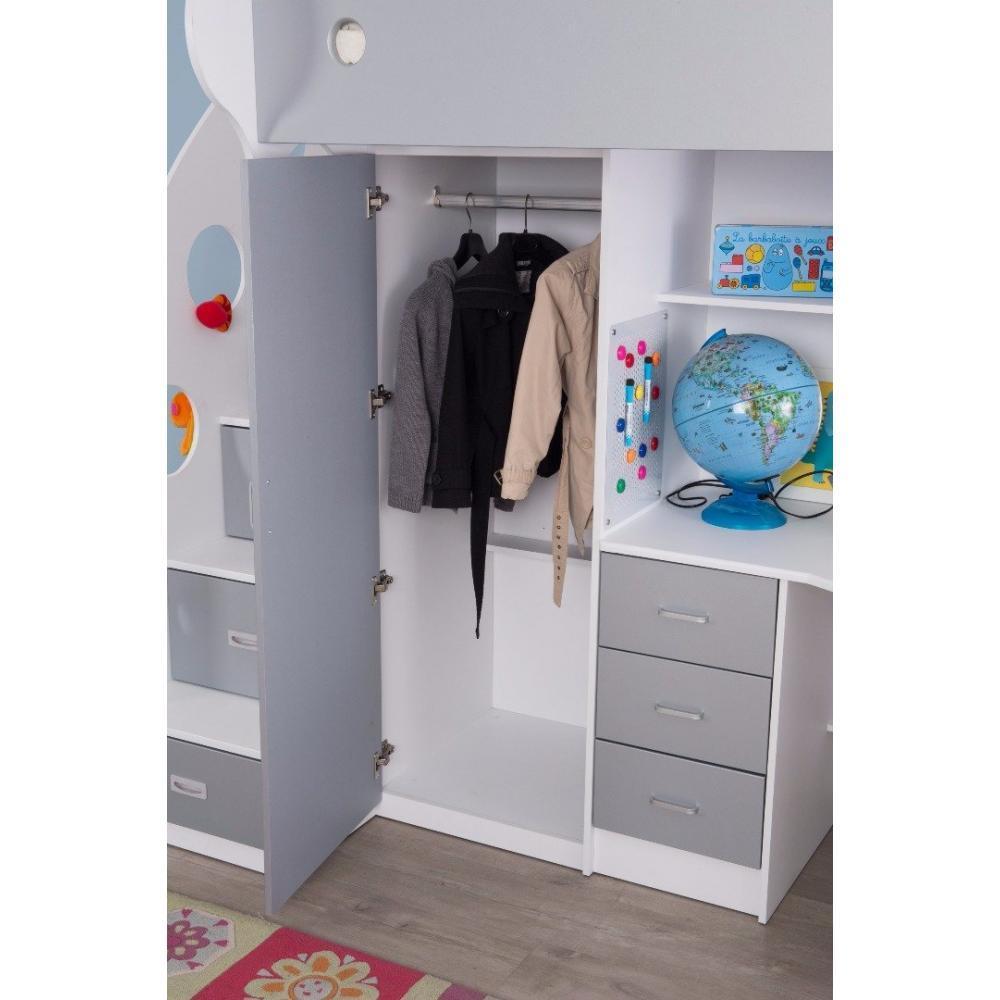 Lits chambre literie lit mezzanine ma a blanc et gris espace bureau i - Dressing sous lit mezzanine ...