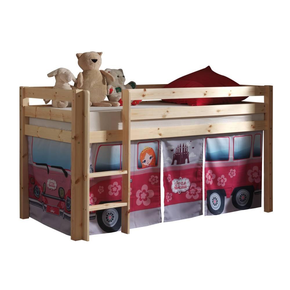 lits chambre literie lit mi haut pluton en pin naturel. Black Bedroom Furniture Sets. Home Design Ideas