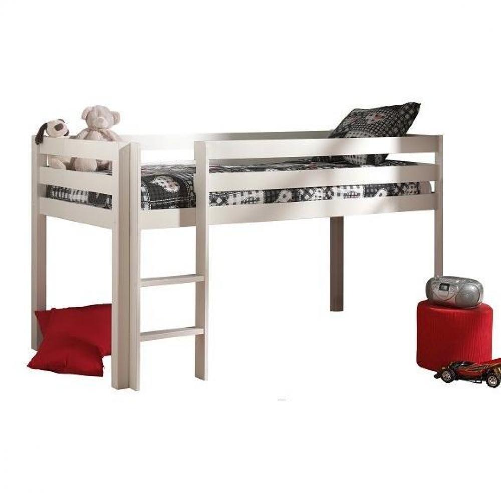 lits chambre literie lit mi haut pluton en pin vernis blanc couchage 90 x 200 inside75. Black Bedroom Furniture Sets. Home Design Ideas