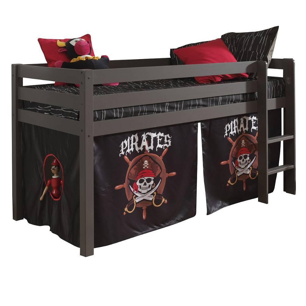 lit mi haut pluton taupe avec tente de lit pirate - Lit Pirate