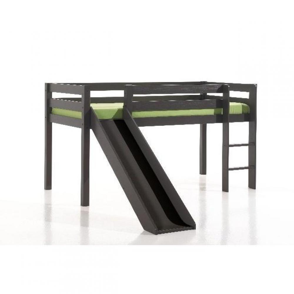 lits mezzanine chambre literie lit mi haut pluton avec toboggan en pin massif taupe inside75. Black Bedroom Furniture Sets. Home Design Ideas