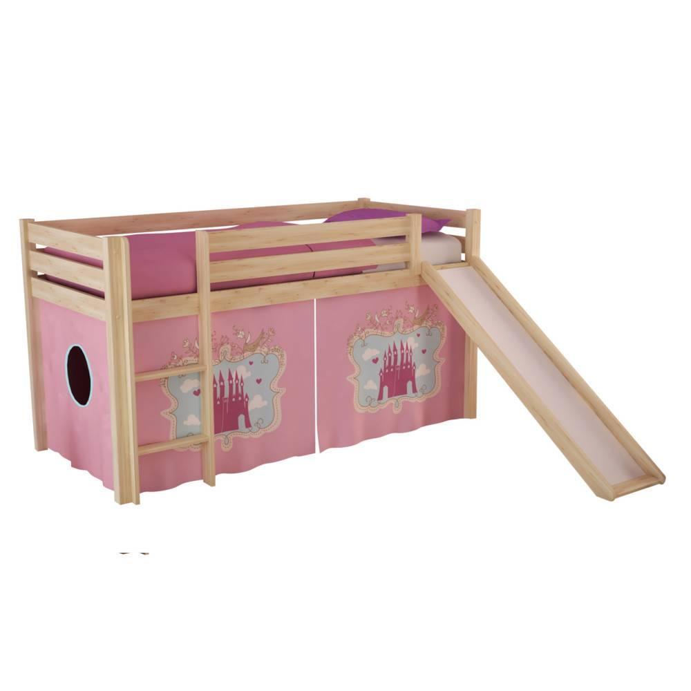 Lits chambre literie lit mi haut avec toboggan pluton - Lit chateau de princesse avec toboggan ...