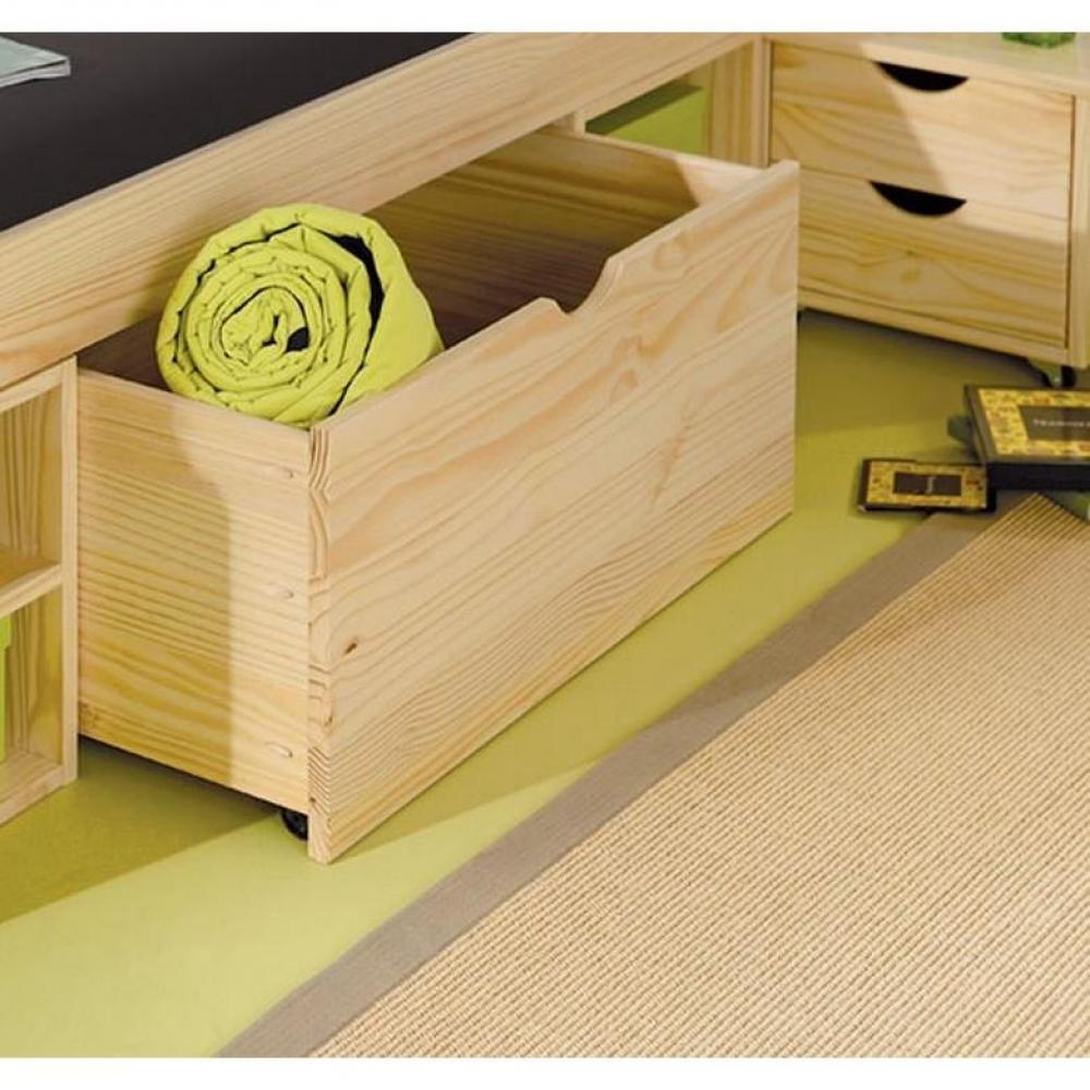lits chambre literie lit multi rangements class en pin massif couchage 140 x 190 cm inside75. Black Bedroom Furniture Sets. Home Design Ideas