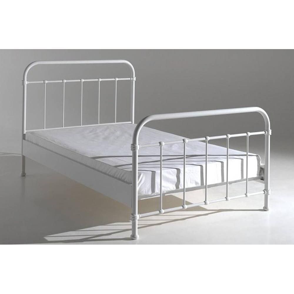 lits chambre literie lit new york acier blanc couchage 120 x 200 inside75. Black Bedroom Furniture Sets. Home Design Ideas