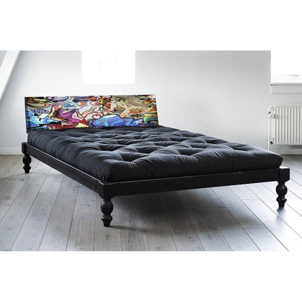 Lit O ROCK BED avec tête de lit imprimée graffiti