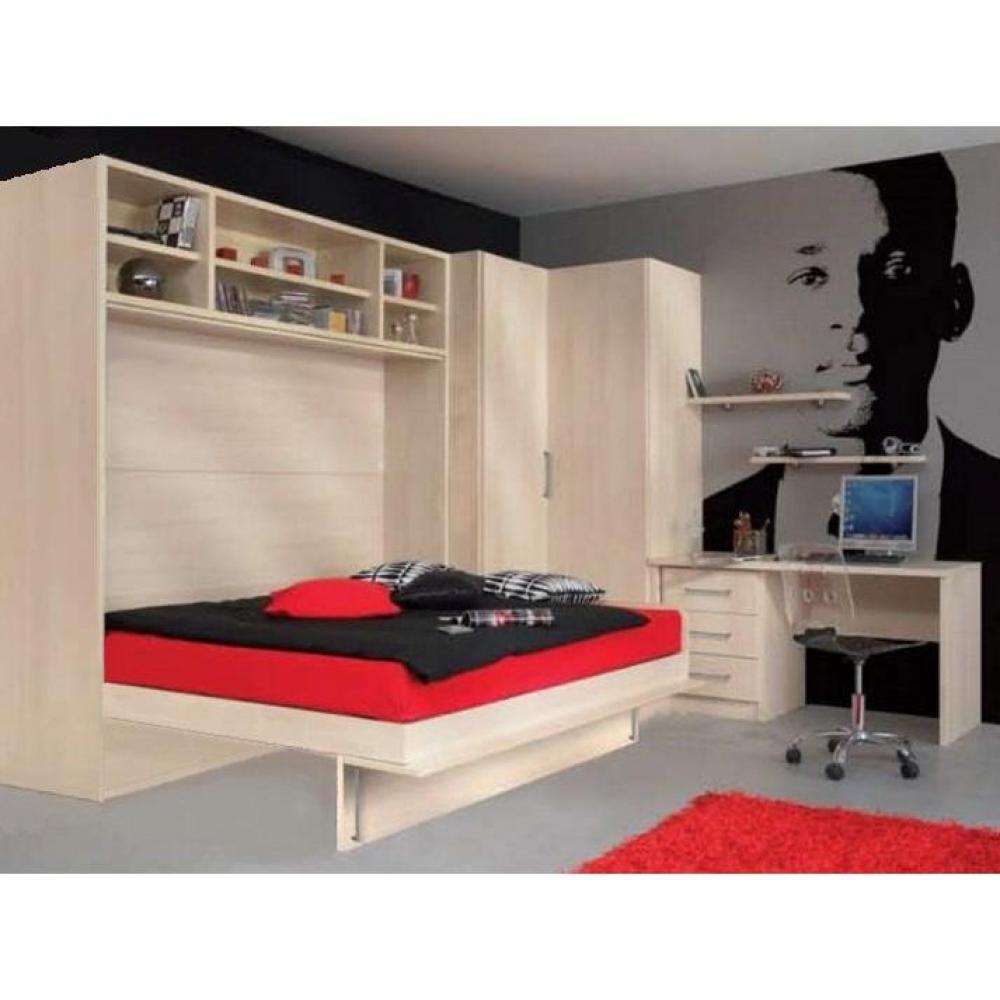 Lit avec armoire en tete de lit interesting chambre for Lit adulte avec armoire